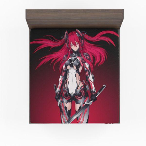 Mecha Girl Red Warrior Katana Fitted Sheet