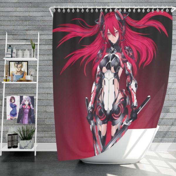 Mecha Girl Red Warrior Katana Shower Curtain