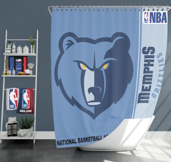 Memphis Grizzlies NBA Basketball Bathroom Shower Curtain