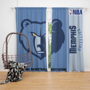 Memphis Grizzlies NBA Basketball Bedroom Window Curtain