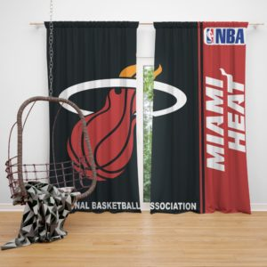 Miami Heat NBA Basketball Bedroom Window Curtain
