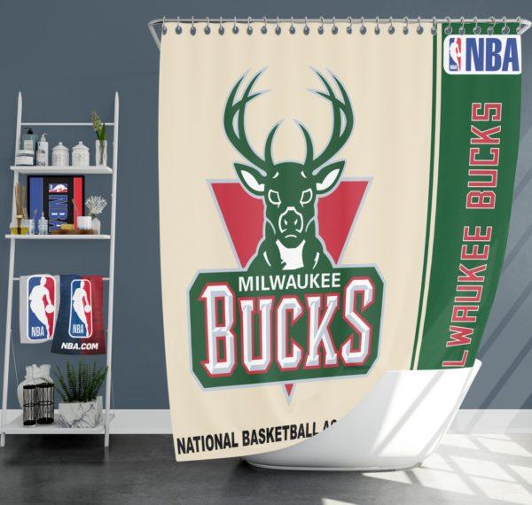 Milwaukee Bucks NBA Basketball Bathroom Shower Curtain