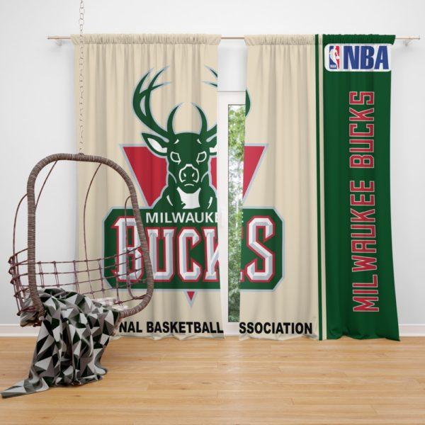 Milwaukee Bucks NBA Basketball Bedroom Window Curtain