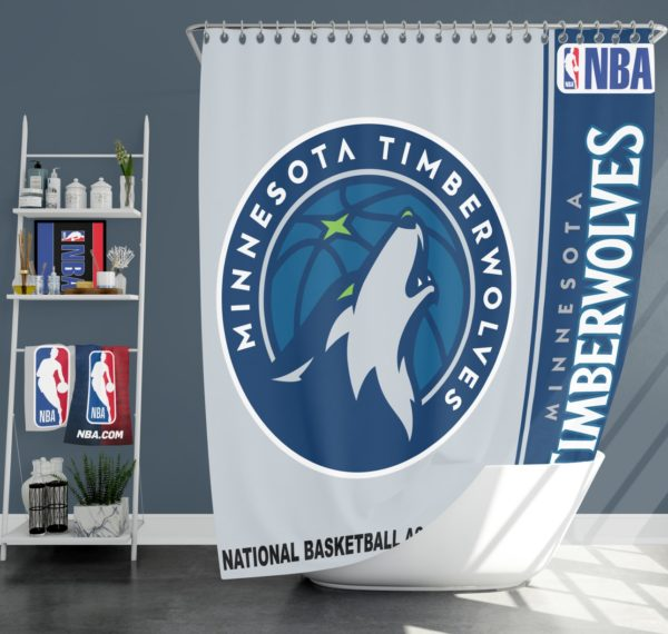 Minnesota Timberwolves NBA Basketball Bathroom Shower Curtain
