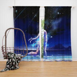 Night Sea Blue Beach Bedroom Window Curtain