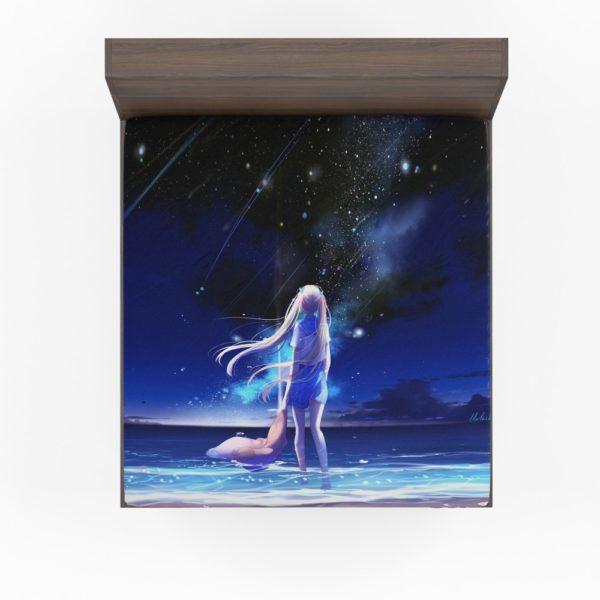 Night Sea Blue Beach Fitted Sheet