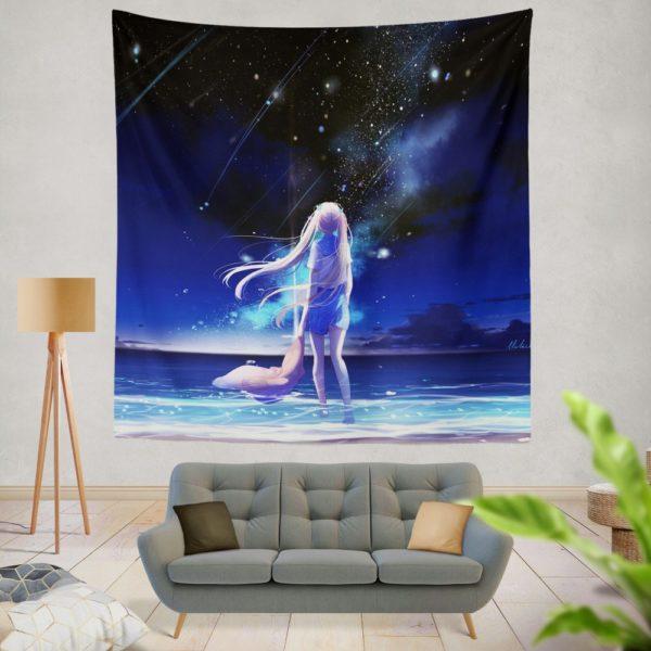 Night Sea Blue Beach Wall Hanging Tapestry
