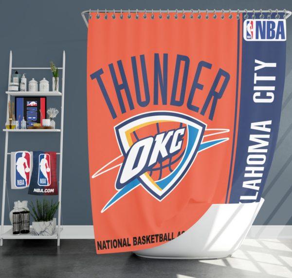 Oklahoma City Thunder NBA Basketball Bathroom Shower Curtain