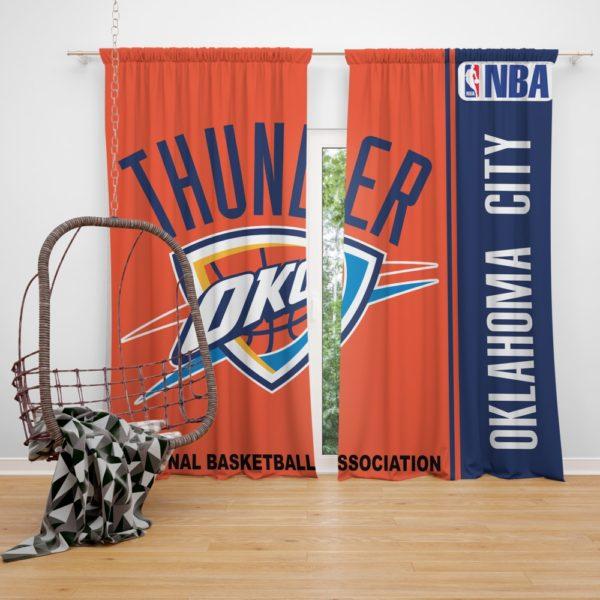 Oklahoma City Thunder NBA Basketball Bedroom Window Curtain