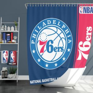 Philadelphia 76ers NBA Basketball Bathroom Shower Curtain