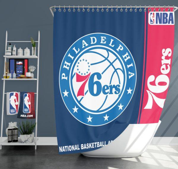 Philadelphia 76ers NBA Basketball Bathroom Shower Curtain