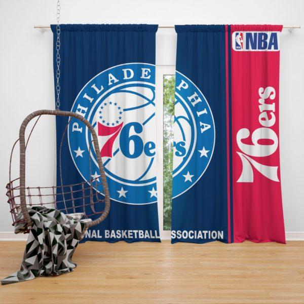 Philadelphia 76ers NBA Basketball Bedroom Window Curtain