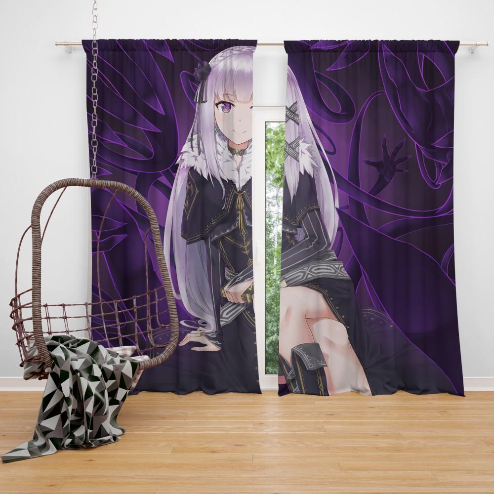 Re Zero Emilia Anime Bedroom Window Curtain