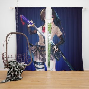 Samurai Sword Katana Anime Girl Bedroom Window Curtain