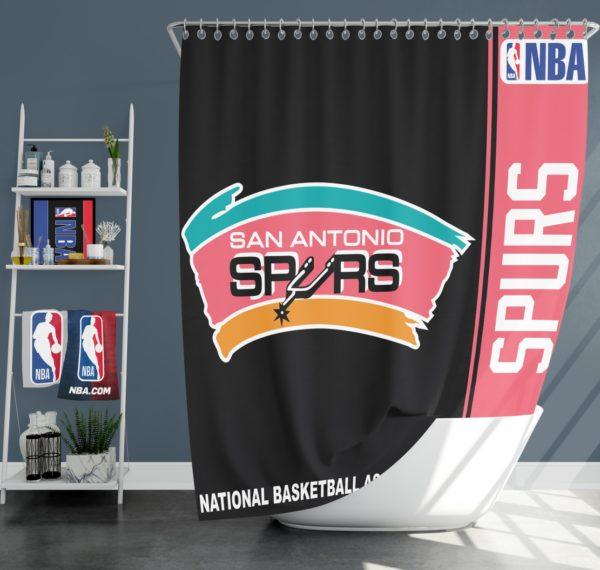 San Antonio Spurs NBA Basketball Bathroom Shower Curtain