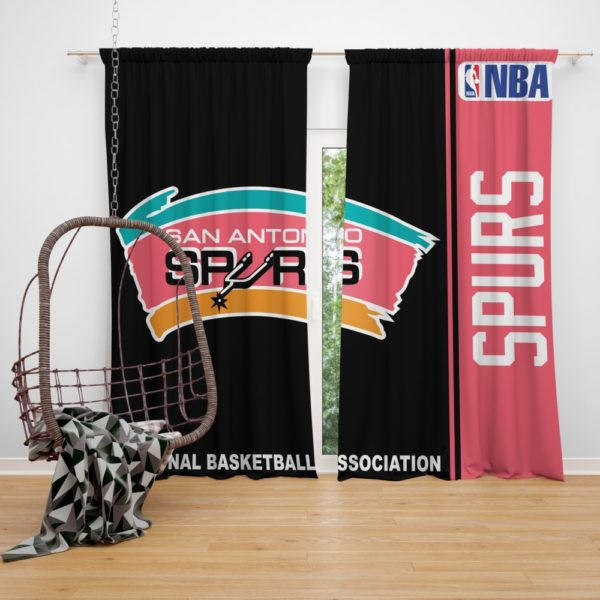 San Antonio Spurs NBA Basketball Bedroom Window Curtain