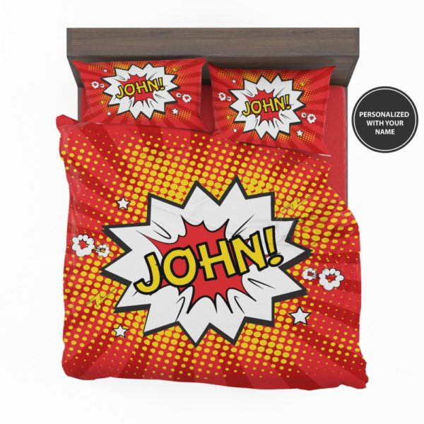 Superhero Theme Comic Personalized Custom Bedding Set 2