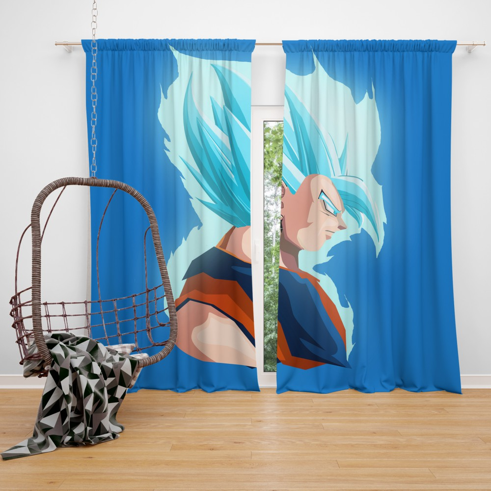 Vegeta Dragon Ball Minimal Design Bedroom Window Curtain