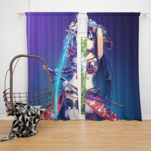 Warrior Girl Katana Anime Bedroom Window Curtain