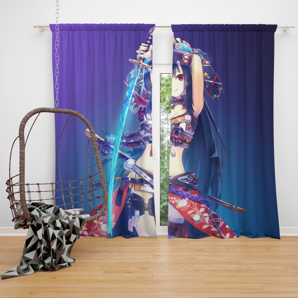 Warrior girl katana anime bedroom window curtain