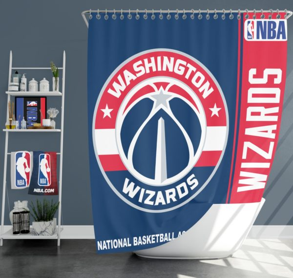 Washington Wizards NBA Basketball Bathroom Shower Curtain