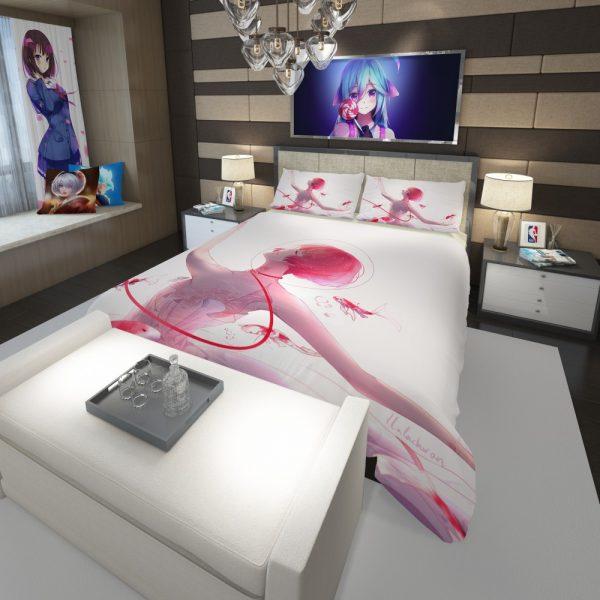 Anime Girl Ballet Dancer Fishes Pink Koi Comforter 3