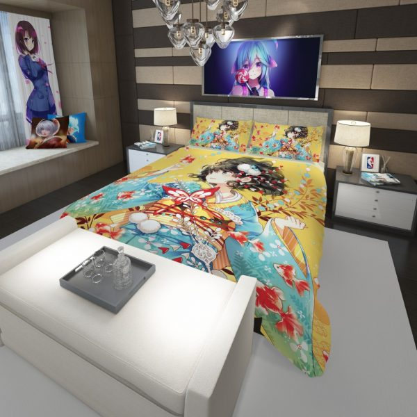 Anime Girl Fishes Japanese Comforter 3