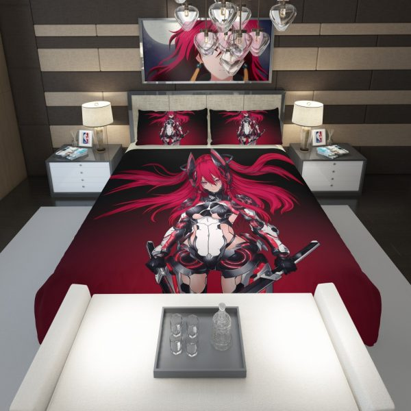 Mecha Girl Red Warrior Katana Comforter 1