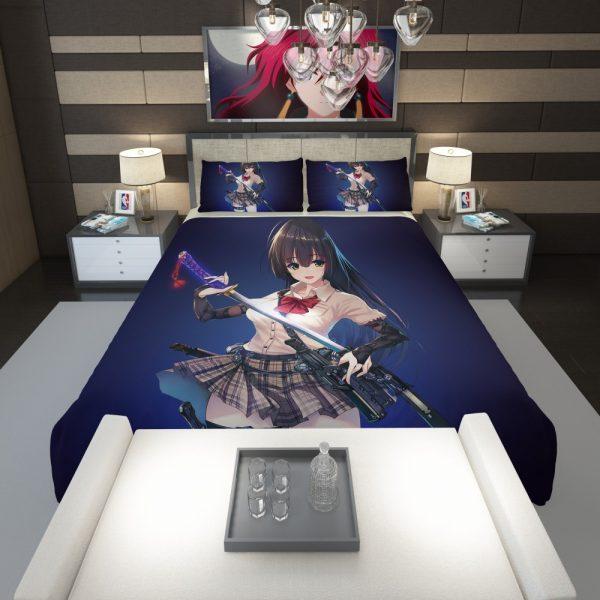 Samurai Sword Katana Anime Girl Comforter 1