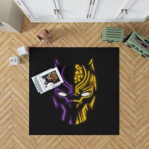 Black Panther Illustration Neon Bedroom Living Room Floor Carpet Rug 1