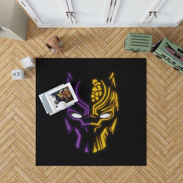 Black Panther Illustration Neon Bedroom Living Room Floor Carpet Rug 1