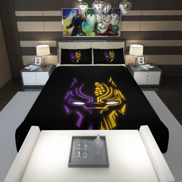Black Panther Illustration Neon Comforter 1