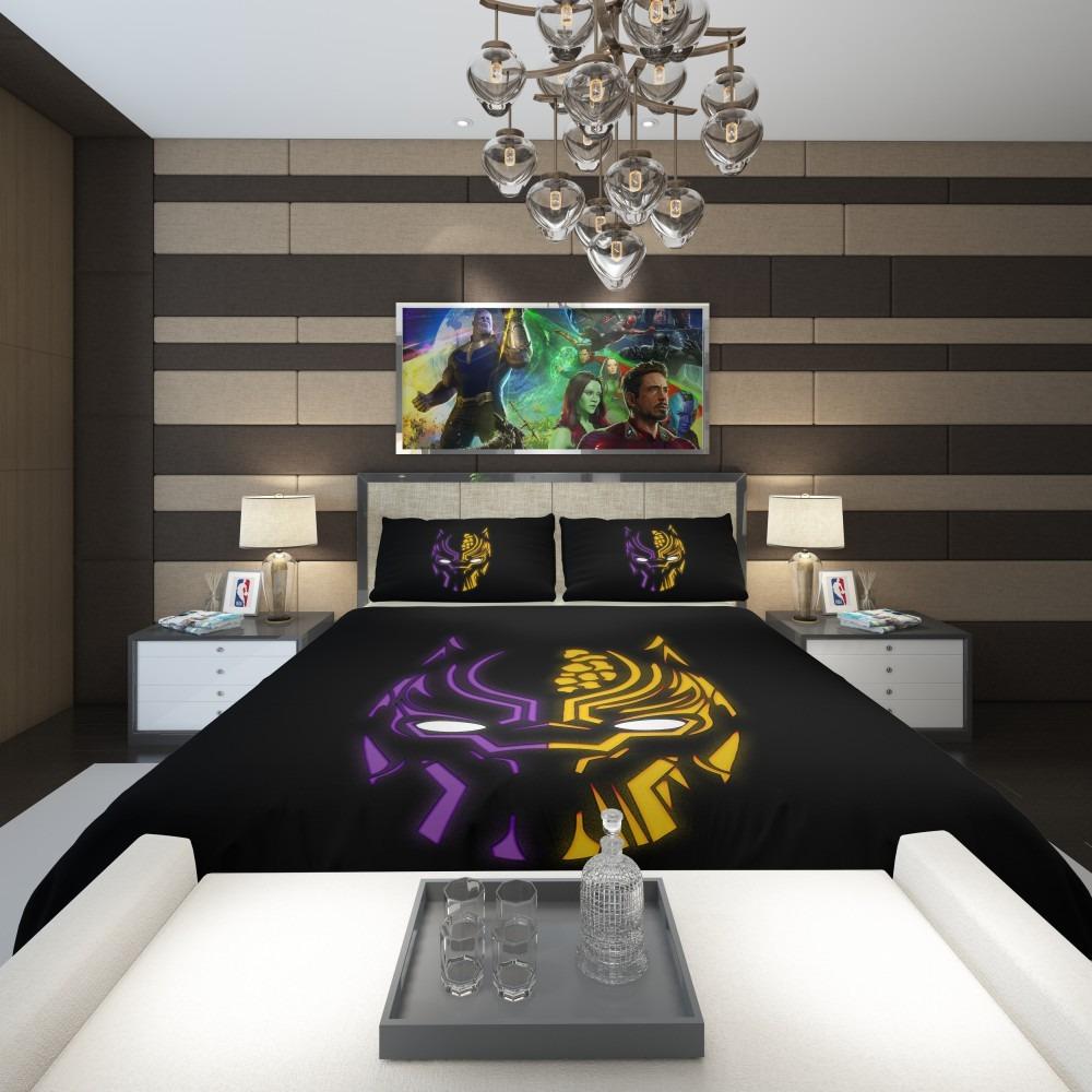 Black Panther Illustration Neon Comforter Ebeddingsets