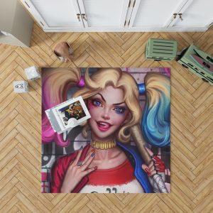 Harley Quinn DC Comics Artwork Bedroom Living Room Floor Carpet Rug 1