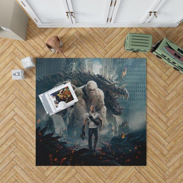 Rampage Dwayne Johnson White Gorilla Bedroom Living Room Floor Carpet Rug 1