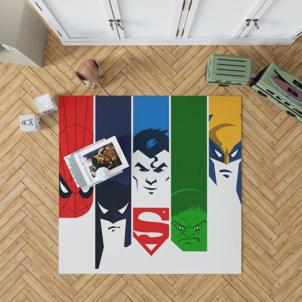 Superheroes Spider Man Batman Superman Hulk Wolverine Bedroom Living Room Floor Carpet Rug 1