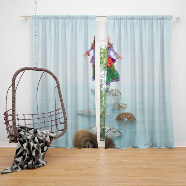 Alice Through the Looking Glass 2016 Movie Mia Wasikowska Window Curtain