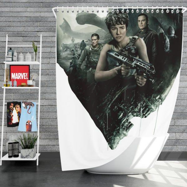Alien Covenant Movie Katherine Waterston Michael Fassbender Xenomorph Shower Curtain
