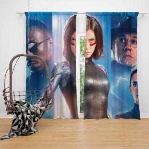 Alita Battle Angel Movie Christoph Waltz Jennifer Connelly Mahershala Ali Window Curtain