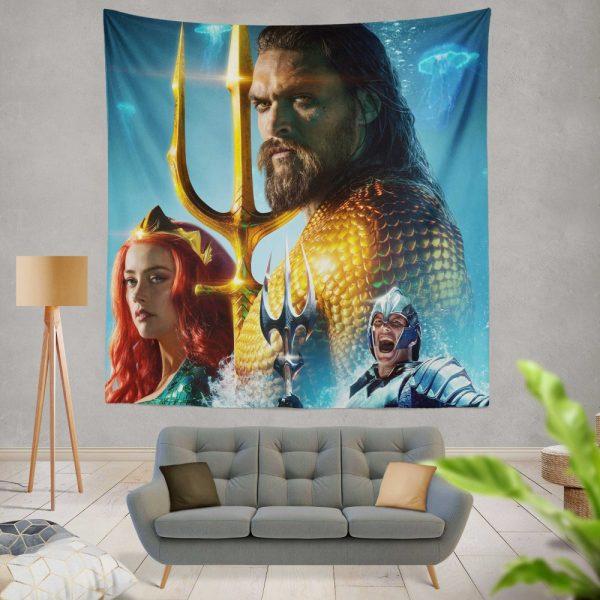 Aquaman Movie Amber Heard Jason Momoa Mera DC Comics Wall Hanging Tapestry