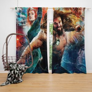 Aquaman Movie Amber Heard Jason Momoa Mera DC Universe Window Curtain