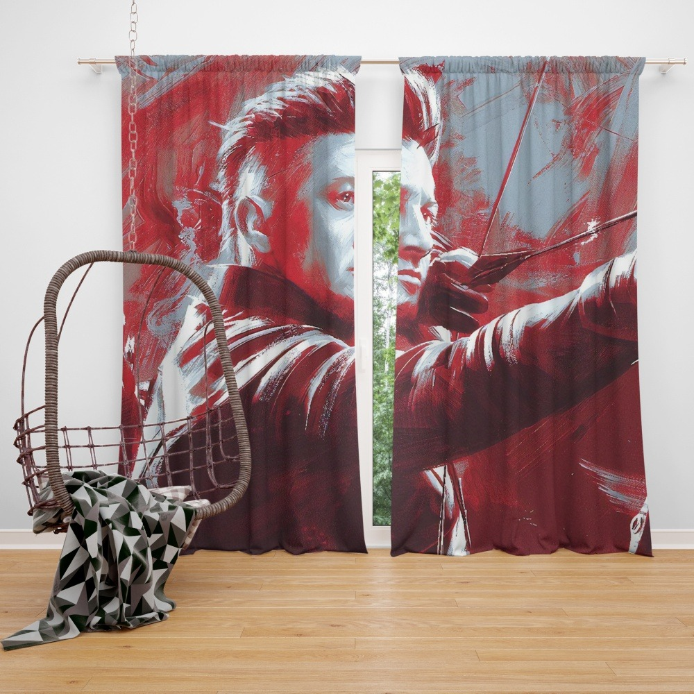 Avengers Endgame Movie Hawkeye Jeremy Renner MCU Window Curtain