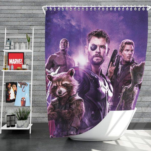 Avengers Infinity War Drax The Destroyer Star Lord Gamora Thor Groot Rocket Raccoon Shower Curtain