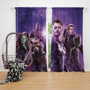 Avengers Infinity War Drax The Destroyer Star Lord Gamora Thor Groot Rocket Raccoon Window Curtain