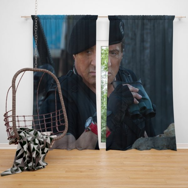 Barney Ross Sylvester Stallone The Expendables 3 Movie Window Curtain