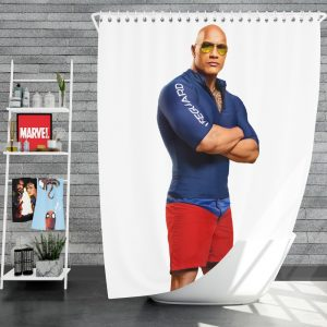 Baywatch Movie Actor Baywatch Dwayne Johnson Man Muscle Shower Curtain