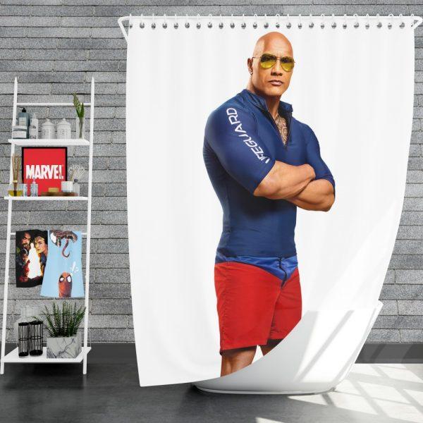 Baywatch Movie Actor Baywatch Dwayne Johnson Man Muscle Shower Curtain