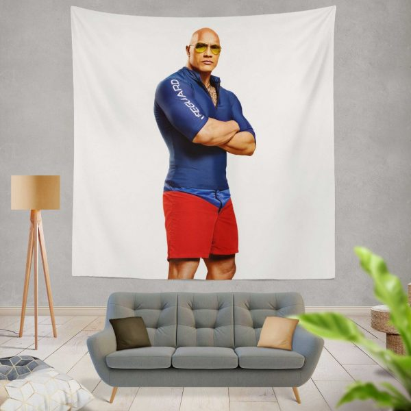Baywatch Movie Actor Baywatch Dwayne Johnson Man Muscle Wall Hanging Tapestry