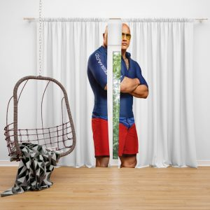Baywatch Movie Actor Baywatch Dwayne Johnson Man Muscle Window Curtain