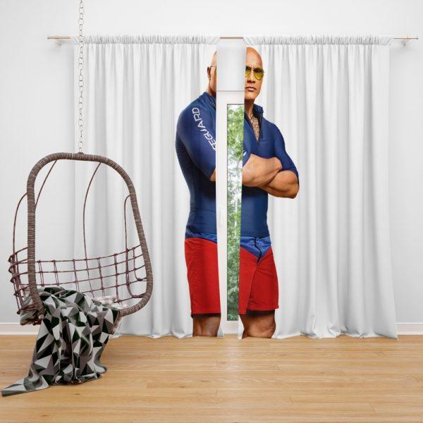 Baywatch Movie Actor Baywatch Dwayne Johnson Man Muscle Window Curtain